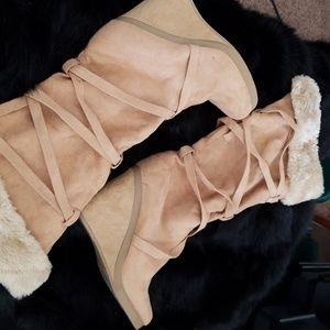 Xhilaration Semi-Suede Wedge Boot Faux Fur Trim